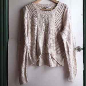 LC LAUREN CONRAD Tan Nude Open Weave Knit Sweater